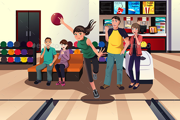 GraphicRiver Young People Bowling 9742613
