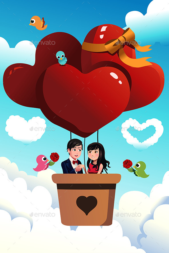 GraphicRiver Couple Riding a Hot Air Balloon 9742618