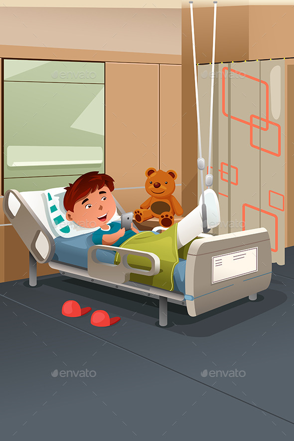 GraphicRiver Kid with Broken Leg in the Hospital 9742625