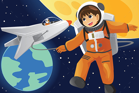 GraphicRiver Kid Imagining as an Astronaut 9742649