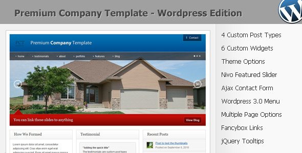 ThemeForest Premium Company Template Wordpress 3.0 123943