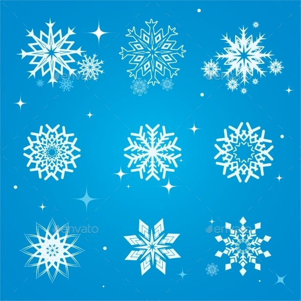 GraphicRiver Snowflakes Set 9744075