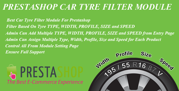Prestashop Car Tyre Filter Module