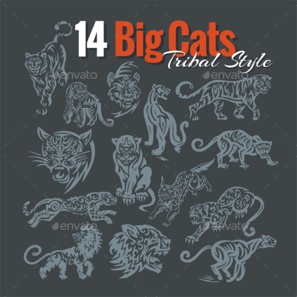GraphicRiver Big Cats in Tribal Style 9744253