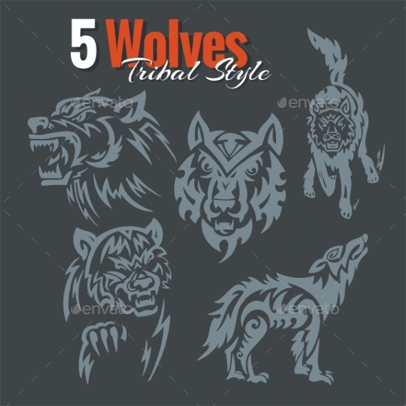 Wolves in Tribal Style