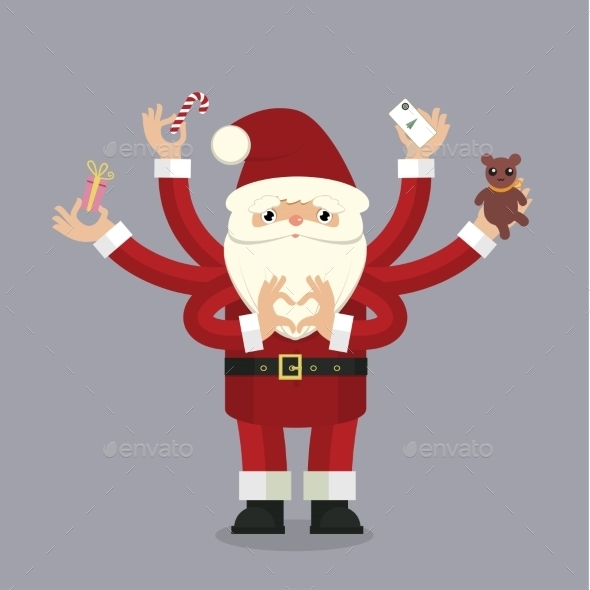 Many-armed Santa Claus on gray