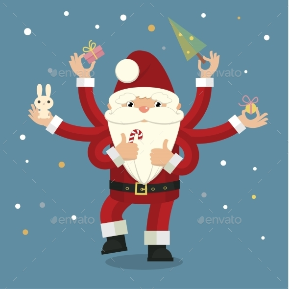 GraphicRiver Many-Armed Santa Claus on Blue 9744265
