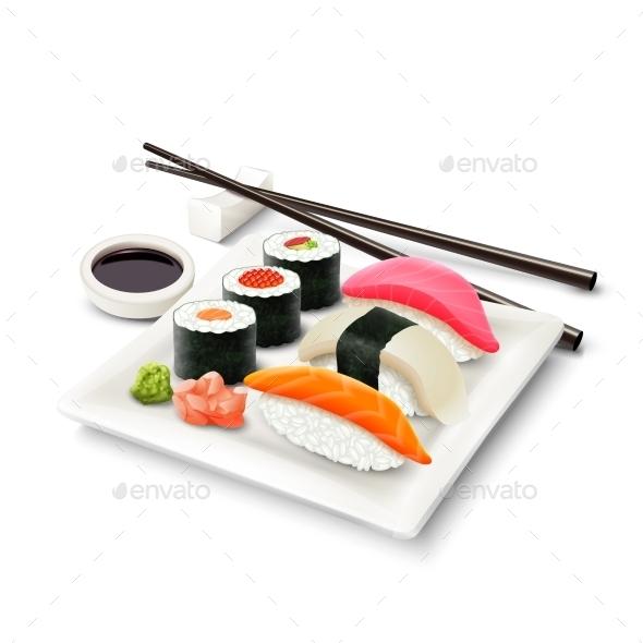 GraphicRiver Sushi Realistic Set 9744460