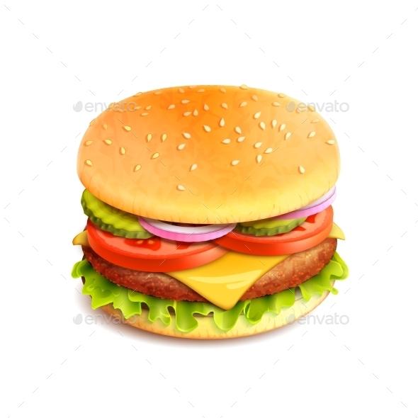 GraphicRiver Hamburger Realistic Isolated 9744466