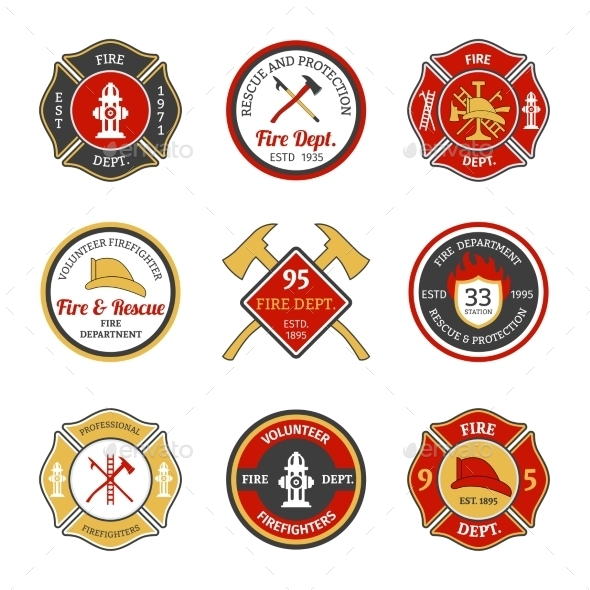 GraphicRiver Fire Department Emblems 9744488