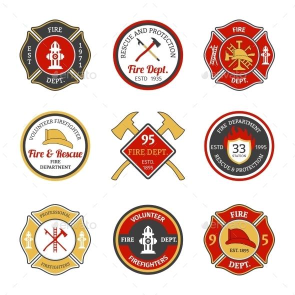 GraphicRiver Fire Department Emblems 9744488