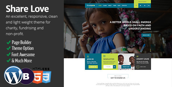ThemeForest ShareLove Charity Non-Profit WordPress Theme 9510928