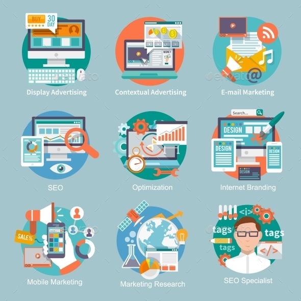 GraphicRiver SEO Internet Marketing Flat Icon 9744529