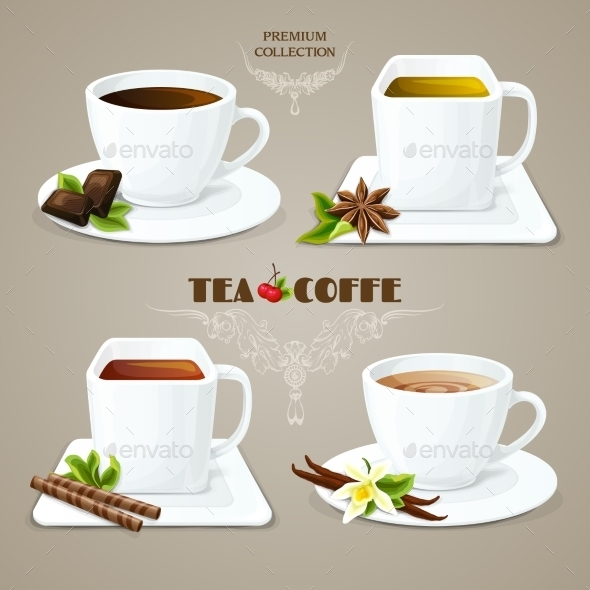 GraphicRiver Tea and Coffee Cups Set 9746051