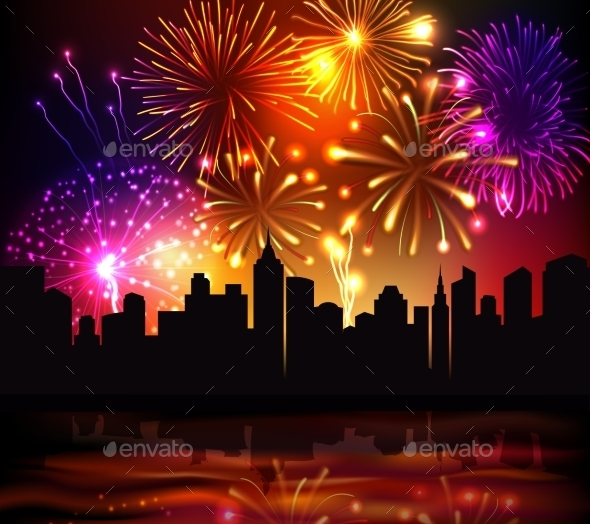 GraphicRiver Fireworks City Background 9746216