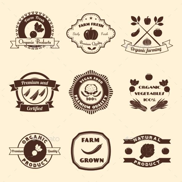 GraphicRiver Vegetable Label Set 9746230
