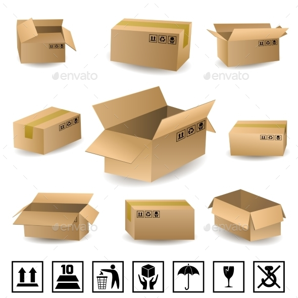 GraphicRiver Shipping Boxes Set 9746336