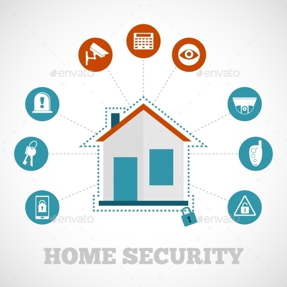GraphicRiver Home Security Icon Flat 9746338