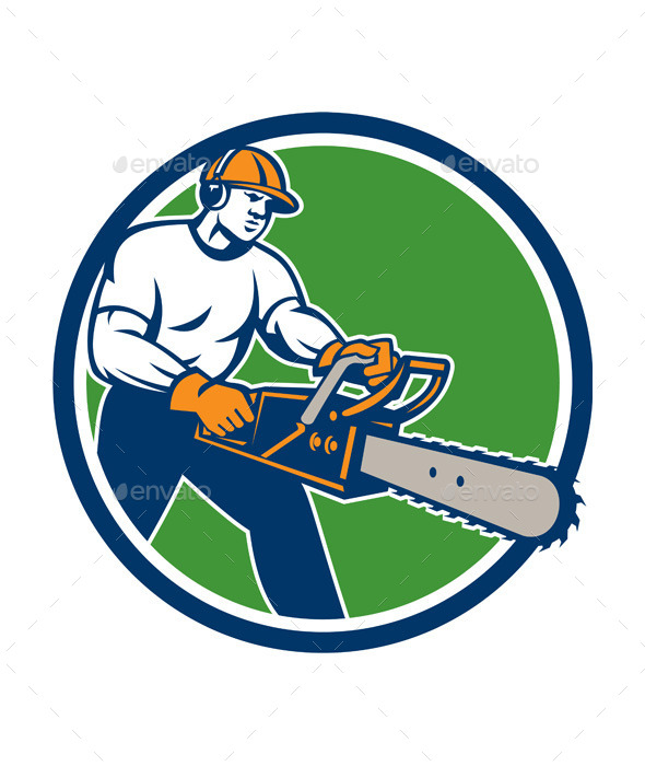 GraphicRiver Lumberjack Tree Surgeon Arborist Chainsaw Circle 9746343