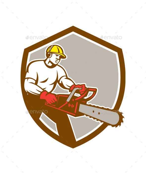 GraphicRiver Lumberjack Tree Surgeon Arborist Chainsaw Shield 9746351