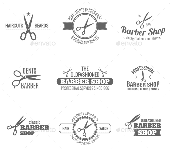 GraphicRiver Barber Label Black 9746352