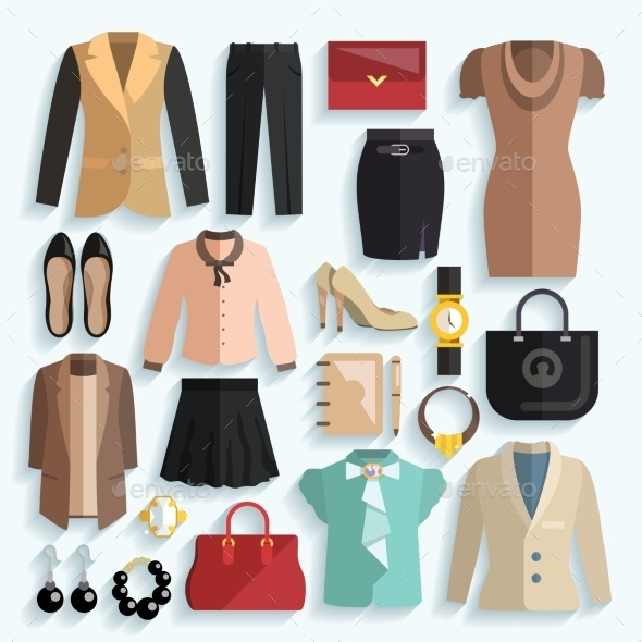 GraphicRiver Businesswoman Clothes Icons 9746362