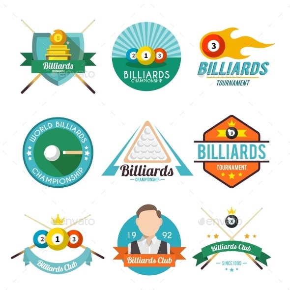 GraphicRiver Billiard Label Set 9746382