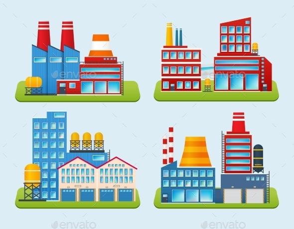 GraphicRiver Industrial Building Set 9746906