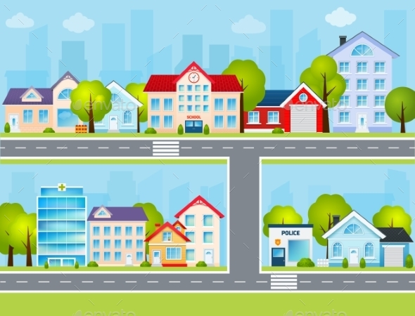 GraphicRiver Flat Town Illustration 9746963