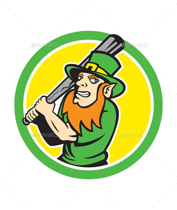 GraphicRiver Leprechaun Baseball Circle 9746990