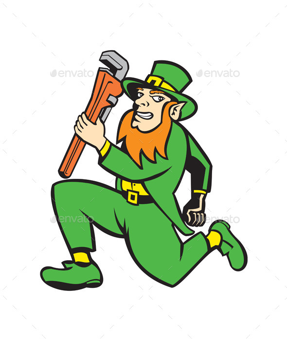 GraphicRiver Leprechaun Plumber Running with Wrench 9747080