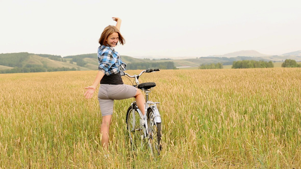 Girl With Bicycle 2