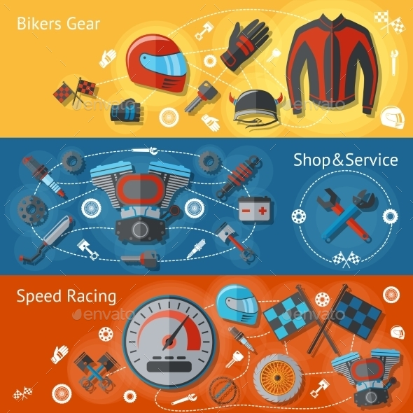 GraphicRiver Motorcycle Banners Flat Set 9747131