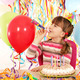 happy little girl with trumpet and birthday cake - PhotoDune Item for Sale
