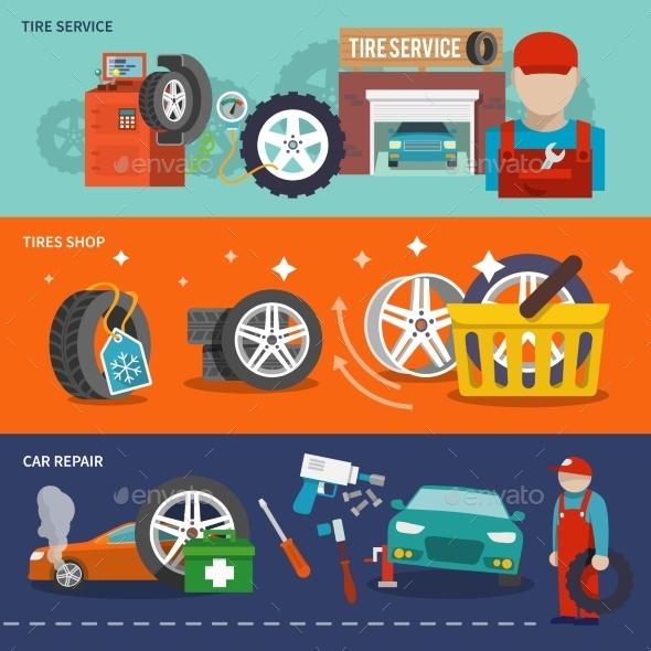 GraphicRiver Tire Banner Set 9747146