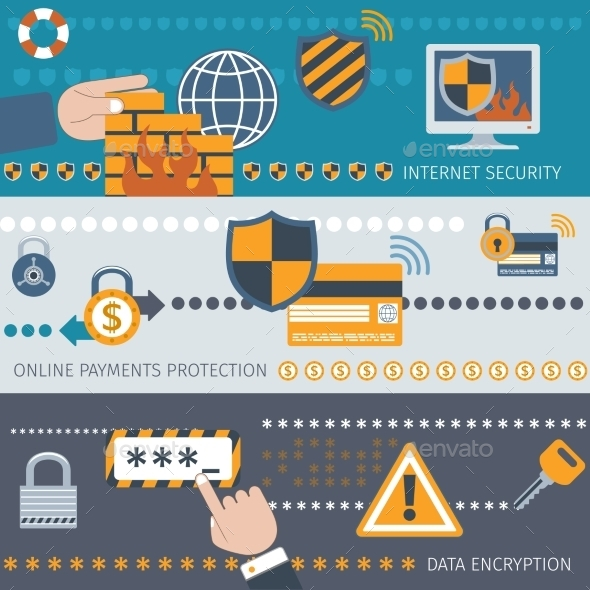 GraphicRiver Security Line Banners Set 9747163