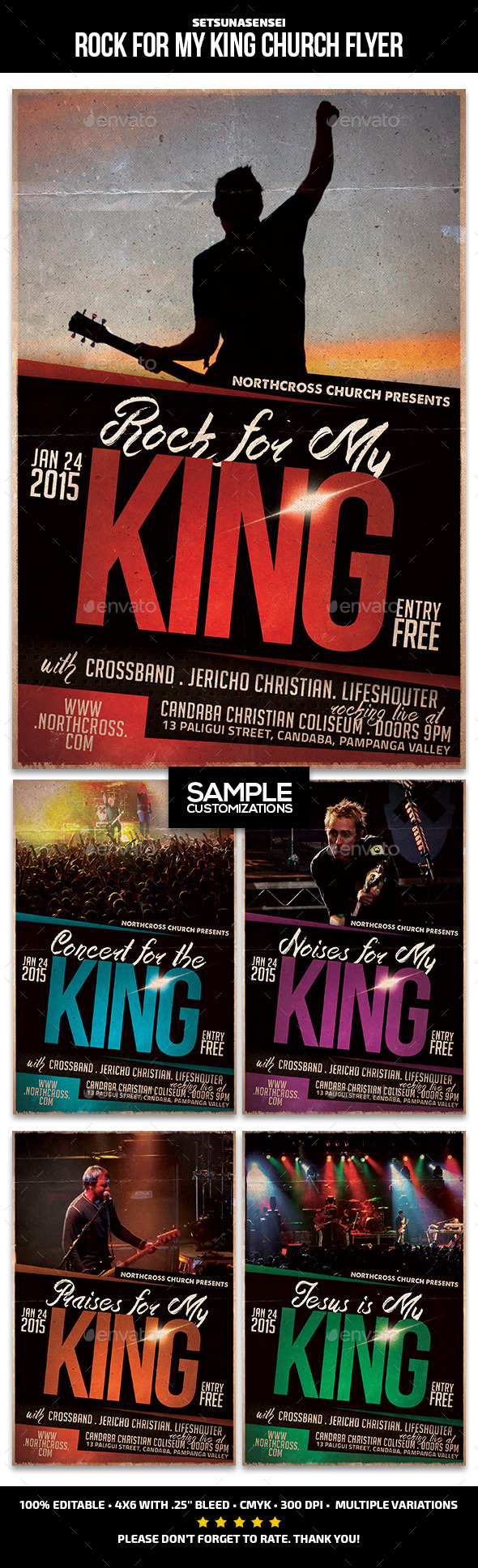 GraphicRiver Rock for My King Church Flyer 9747173