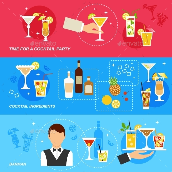 GraphicRiver Alcohol Cocktails Banner Set 9747176
