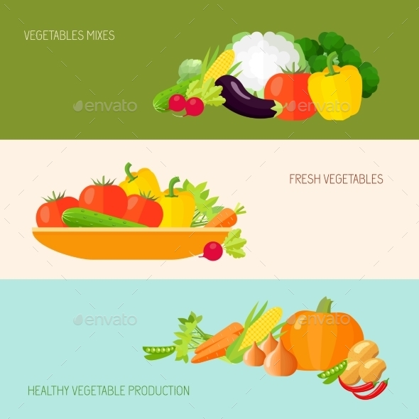 GraphicRiver Vegetables Banner Set 9747200