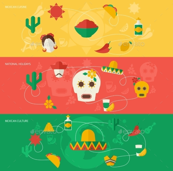 GraphicRiver Mexico Flat Banner Set 9747205