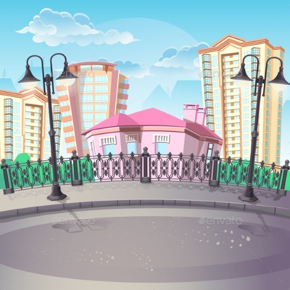 GraphicRiver Image of City Quay with Lanterns 9747314