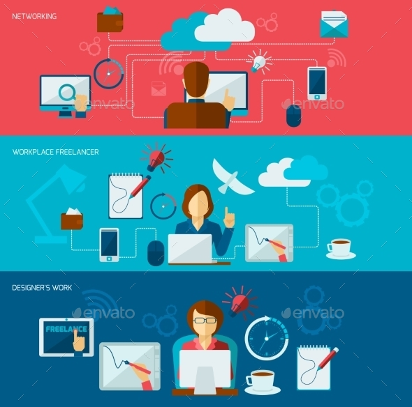 GraphicRiver Freelance Banner Set 9747336