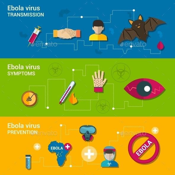 GraphicRiver Ebola Virus Flat Banners 9747369