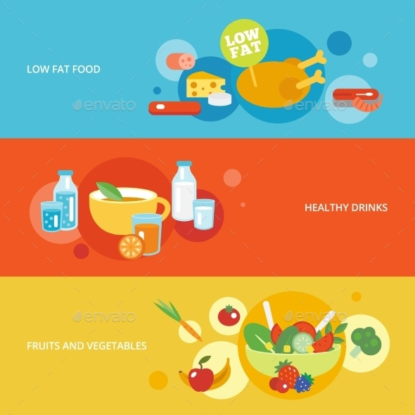 GraphicRiver Healthy Eating Flat Banner Set 9747397