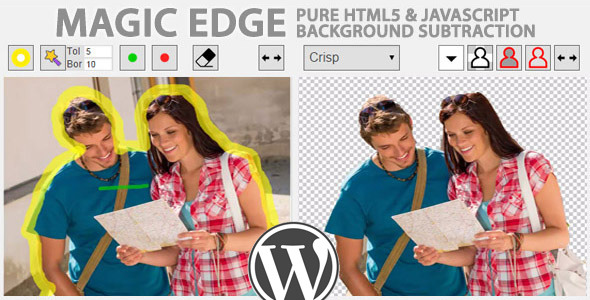 Unique… Pure JavaScript image background removal for Wordpress. It's unbelievable easy to use. Just in several steps your photo became transparent.