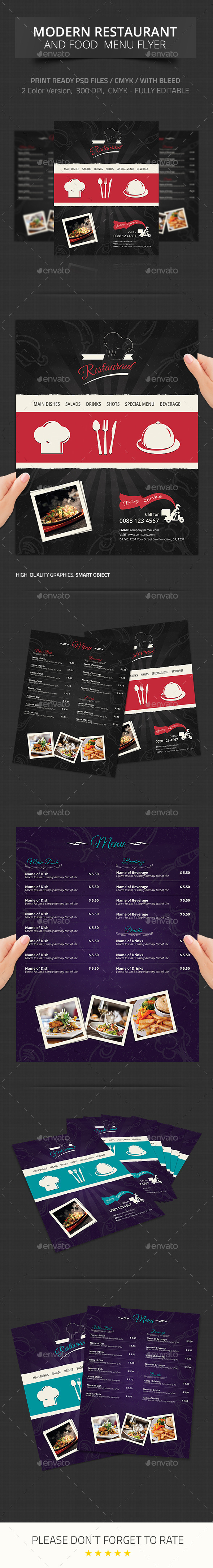 Modern Restaurant and Food Menu Flyer