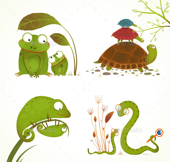 GraphicRiver Cartoon Reptile Animals Parent with Baby Collection 9748021
