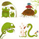 Cartoon Reptile Animals Parent with Baby Collection - GraphicRiver Item for Sale
