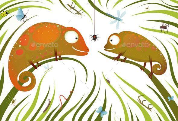 GraphicRiver Colorful Lizards with Insects in Grass 9748071