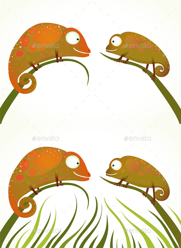 GraphicRiver Colorful Lizards Sitting on Grass Background 9748076